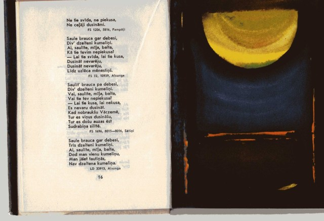 """Eine Seite aus dem Buch """"Saule seja sudrabiņu"""", Riga 1972, eine Auswahl lettischer Dainas mit Illustrationen von Kurts Fridrihsons"""